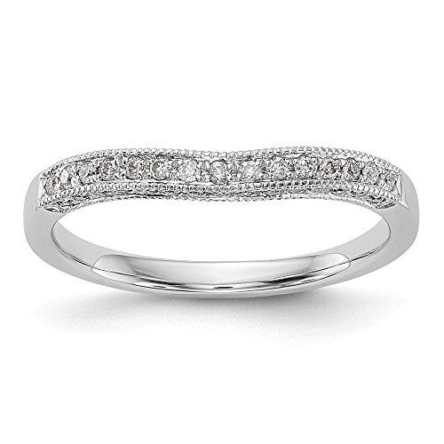 JewelrySuperMart Collection 1/4 CT 14k White Gold Curved Diamond Wedding Band. 0.27 - Shank Lockshank