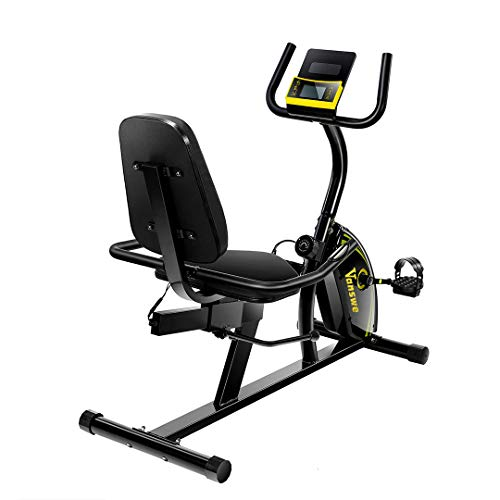 Magnetic Tension Exercise Bike Adjustable Resistance Recumbent Bike Transport Wheels Fitness Stationary Bicycle (Yellow/Black)