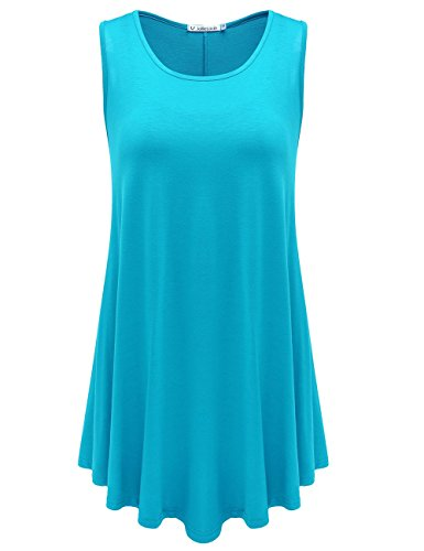 JollieLovin Womens Sleeveless Comfy Plus Size Tunic Tank Top with Flare Hem - Lake Blue, L