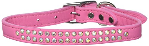 Mirage Pet Products Two Row Aurora Borealis Jeweled Leather Pink Dog Collar, 20