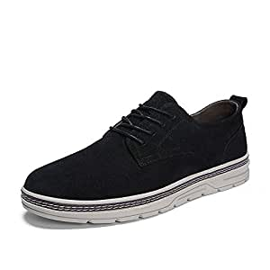 XUJW-Shoes, Low Top Boots for Men Hiking Walking Shoes Lace Up PU Leather Anti Slip Cushioning Lightweight Durable Comfortable Walking Shopping Travel Driving (Color : Black, Size : 8.5 UK)