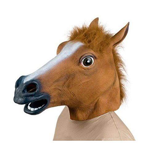 Lypumso Mascara Cabeza de Caballo de Latex de Gaucho Halloween Traje Mascara Navidad Fiesta Decoraciones Adulto Accesorio Del Traje (Marron)