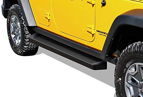 APS iBoard Running Boards (Nerf Bars | Side Steps | Step Bars) Compatible with 2007-2018 Jeep Wrangler JK | (Black Powder Coated Running Board Style)