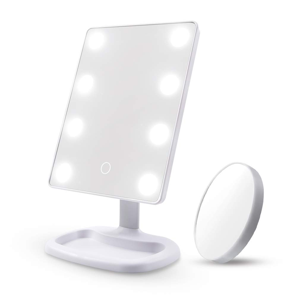 Makeup Mirror Vanity Mirror with Lights - DIOLAN 8PCS Led Lighted Mirror with Touch Screen, 180° Adjustable Rotation, Dual Power Supply, Portable Makeup Mirror, White
