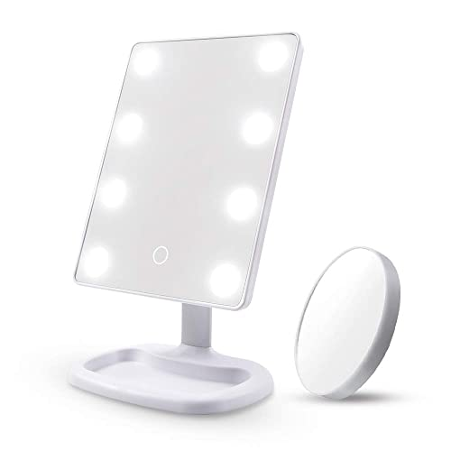 Makeup Mirror Vanity Mirror with Lights – DIOLAN 8PCS Led Lighted Mirror with Touch Screen, 180 Adjustable Rotation, Dual Power Supply, Portable Makeup Mirror, White