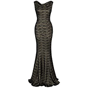 MUXXN Women's Lace Vintage Style Backless Ball Gown Bridesmaid Dress (Black Lace S)