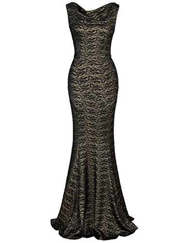 (MUXXN Ladies Audrey Hepburn 80s Sleeveless Lace Gold Maxi Dress (Black Lace M))