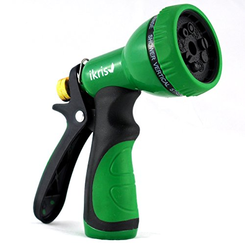 ikris Garden Hose Nozzle 9-Pattern Metal Sprayer with Rubberized ComfortGrip