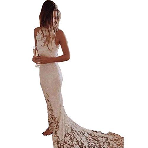 Chady High Neck Wedding Dresses for Bride 2017 Lace Bohemian Beach Wedding Dress Keyhole Back Font Split with Train Mermaid Bridal Gowns