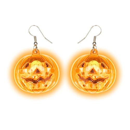 Light Up Pumpkin Earrings (1 Set) by Glow Maker
