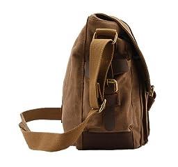 Kattee Men\'s Canvas Cow Leather DSLR SLR Vintage Camera Shoulder Messenger Bag Khaki