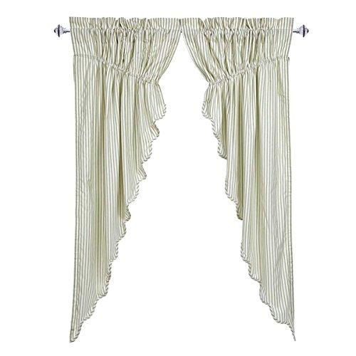 Ticking Stripe Panel (VHC Brands Josephine Sage Scalloped Prairie Curtain Set of 2 63x36x18)