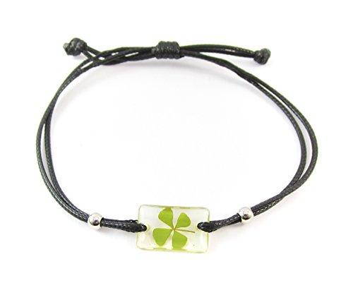 (Genuine Four-leaf Lucky Clover Shamrock Crystal Amber Bracelet, Clear Transparent Specimen, Black String Adjustable Size 4