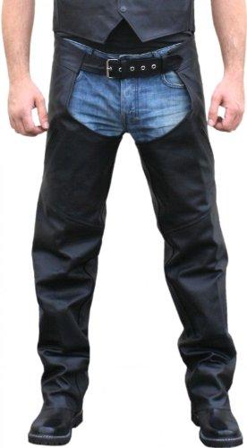 Motorradchaps Motorrad Biker Leder Chaps Rindsleder hose Schwarz, Größe:M