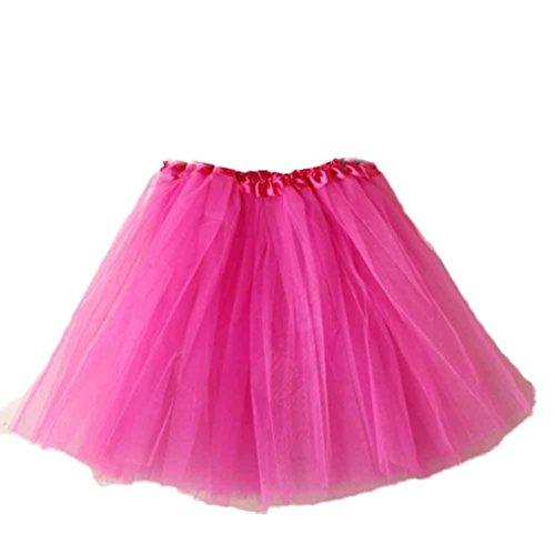 Mini Skirt Women Liraly Ballet Tutu Layered Organza Lace (Hot Pink)