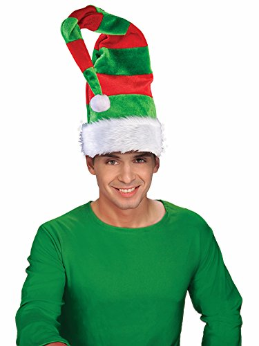 Forum Novelties 79616 Long Elf Striped Bendable Hat, Red/Green, One Size fits Most ()
