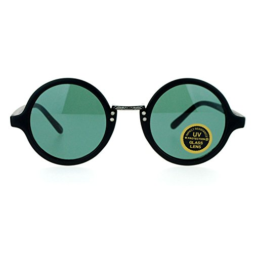 SA106 Temper Glass Shatterpoof Round Vintage Style Circle Lens Sunglasses Matte Black - For Circle Sunglasses Guys