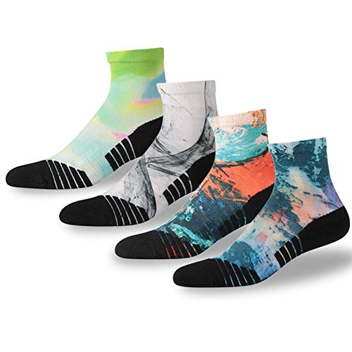 Us Basketball Quarter Sock - NIcool Running Crew Socks, Women's Anti-Blister Performance Basketball Stylish Pattern Exercise Quarter Ankle Socks, 4 Pairs, Multicolor