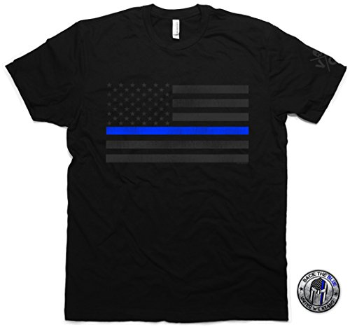 VGX TACTICAL Thin Blue Line Flag T-Shirt & Support The Police Sticker Mens