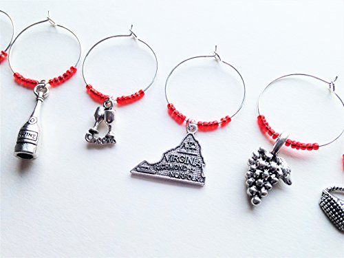 (Virginia Wine Charms, Gift for Virginian, wine themed, Set of 6. RED BEADS)