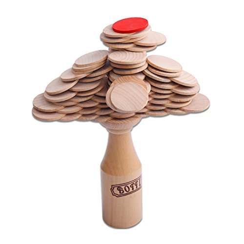 TOYMYTOY Wooden Stacking Balance Board Game - Bottle and Coins, Building Blocks Party Game by TOYMYTOY