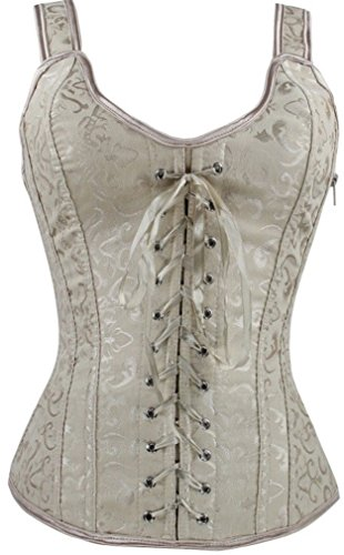 Imilan Women Sexy Boned Lace up Corsets and Strap Bustiers Top (FBA)(M,Apricot)