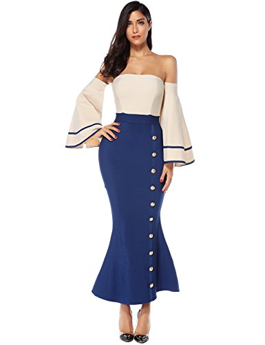 Meilun Womens Fluted Long Sleeve Full Length Evenig Party Bodycon Bandage Dress (Beige&Blue, S)