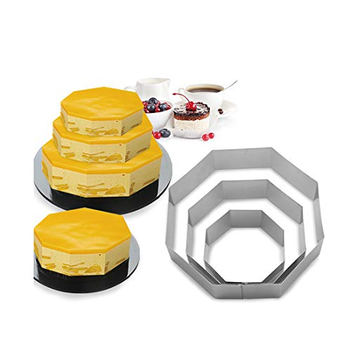3 Tier Octagon Multilayer Anniversary Birthday Cake Baking Pans,Stainless Steel 3 Sizes Rings Octagon Molding Mousse Cake Rings(Octagon-shapes,Set of 3)