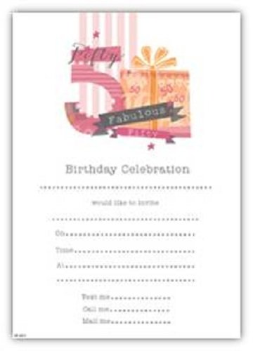 Pack Of 20 50th Birthday Party Invitation Sheets Envelopes