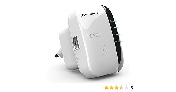 Phoenix Technologies PHW-REPEATER300 - Repetidor de Red WiFi (300 Mbps, Amplificador, Extensor de Cobertura WiFi, 2 x Antena DBI 3 y DBI 5, 1 x Puerto ...