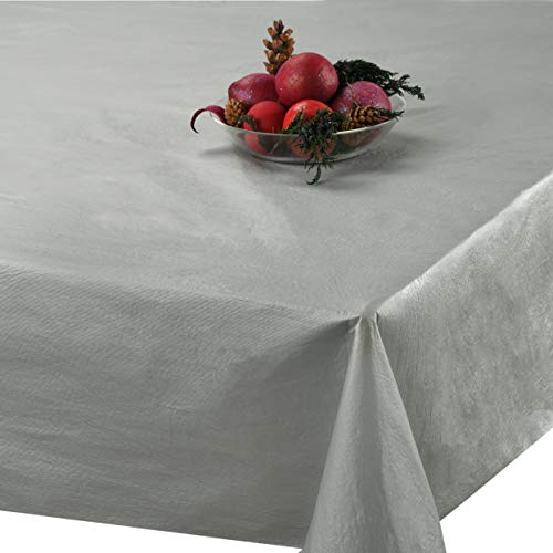 """Silver Plastic Tablecloth (6 Pack) 