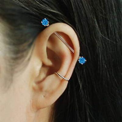 Jewseen 14g Turquoise-Effect Arrow Industrial Barbell for Women Men Blue Opal Ball Industrial Rings 2PCS Body Piercing