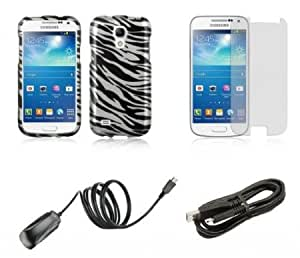 Quaroth Samsung Galaxy S4 Mini - Bundle Pack - Black and Silver Zebra Stripes Design Case + Atom LED Keychain Light +...