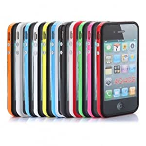 TPU Bumper Frame Silicone Skin Case With Side Button For iPhone 4 4S --- Color:Black&white