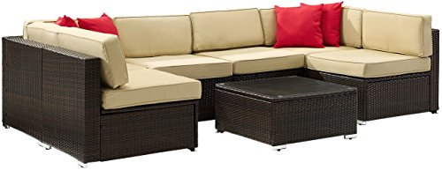 Crosley Furniture KO70146-BR Sea Island 7-Piece Outdoor Wicker Sectional Set with Khaki Cushions - Brown