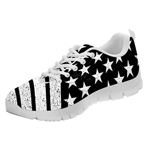 Printed Kicks Black and White USA Flag Sneakers American Shoes for Mens (US5 (EU38), White Sole)