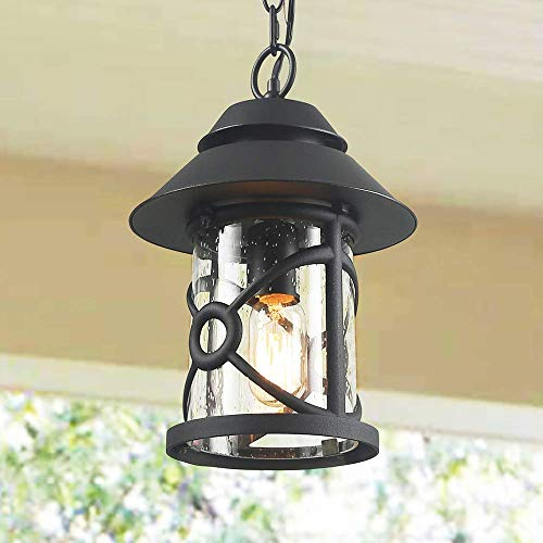 - LOG BARN Farmhouse Outdoor Lantern, Rustic Outside Pendant Lighting in Painted Black Metal with Clear Seeded Glass Globe, 12.6