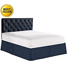 """Elegant Comfort Bed Skirt / Dust Ruffle, Pleated Tailored 14"""" Drop, King, Navy Blue"""