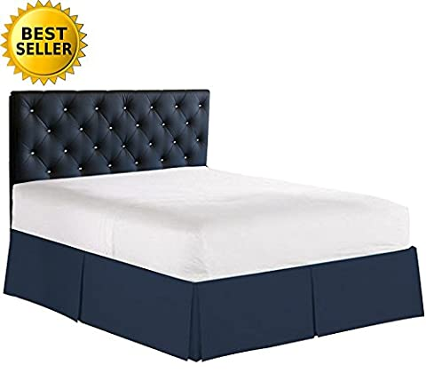 Elegance Linen Luxury 1500 Thread Count Wrinkle & Fade Resistant Egyptian Quality Bed Skirt / Dust Ruffle - Pleated Tailored 14inch Drop, Full , Navy Blue