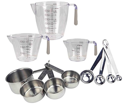 Deluxe Measuring Spoon - Deluxe 11 pc Kitchen Measuring Cups, Stainless Steel Spoons Set