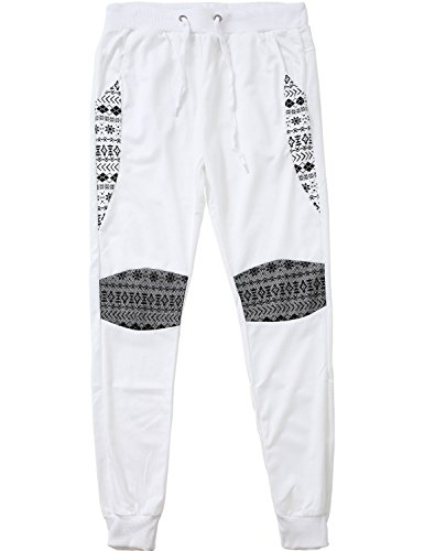 Price comparison product image Ma Croix TS Mens Fleece Pattern Jogger Pants (Large/L20_White)
