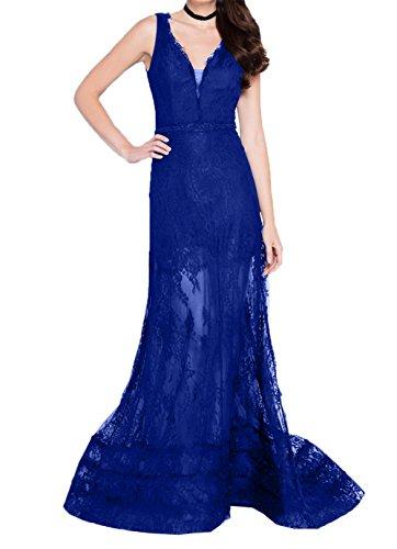Royal Spitze Kleider Damen Charmant Abendkleider Etuikleider Dunkel Ballkleider Durchsichtig Brautmutterkleider Blau Jugendweihe Langes qO88wPxE