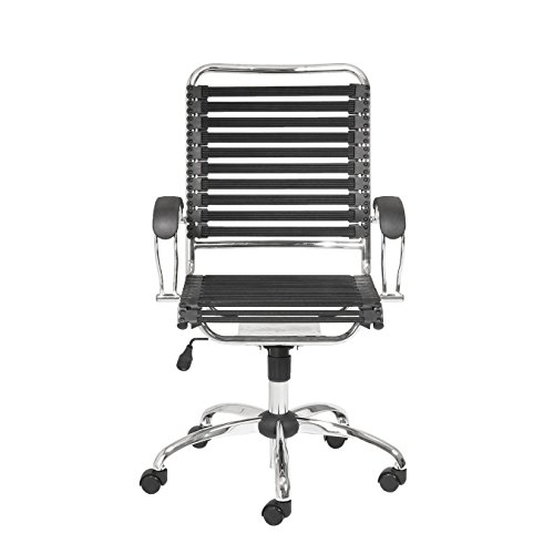Eurø Style Flat Bungie High Back Adjustable Office Chair with J-Arm, Black Bungies with Chrome ()