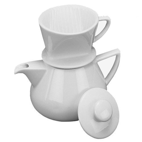 HIC Harold Import Co. NT1044-HIC 19 oz. White Drip with Pot Porcelain Coffee Maker Home Decor Products