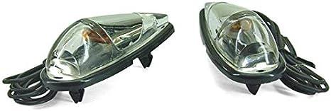 COPPIA FRECCE CARENA ADESIVE CARBON VETRO TRASPARENTE LAMPADE 12V MOTO SCOOTER