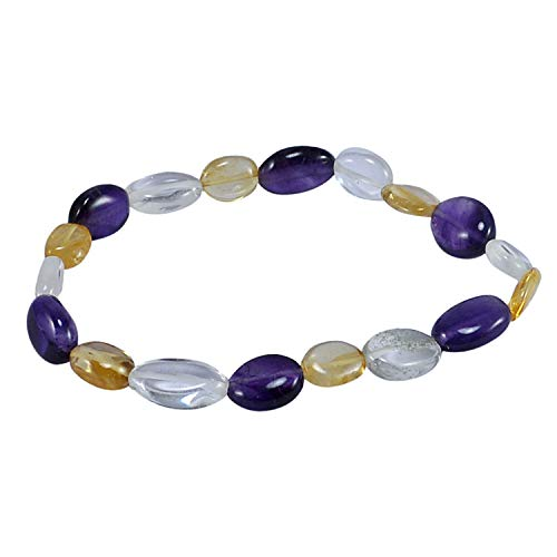 - Silvestoo Jaipur Amethyst, Crystal Quartz & Citrine Adjustable Bracelet PG-127791