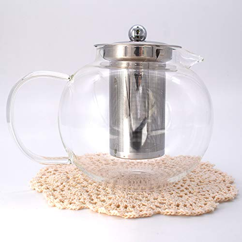 Clear Glass Pot Glass - Clear Glass Teapot Teapots with Stainless Steel Infuser and Lid for Tea Leaf Loose Tea Microwave and Stovetop Safe (1300ml,44oz)