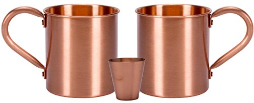 Melange 16 Oz Copper Classic Mug for Moscow Mules, Set of 16 with Eight Shot Glasses - Heavy Gauge - No lining - includes FREE Recipe card by Melange