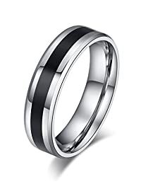 Stainless Steel Wedding Band Ring for Men Women Valentine Couple Engagement Promise, Middle Black