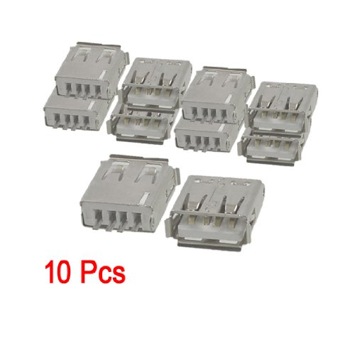 SODIAL(R) 10 Pcs Straight Solder Type USB A Female Plug Jack Connector